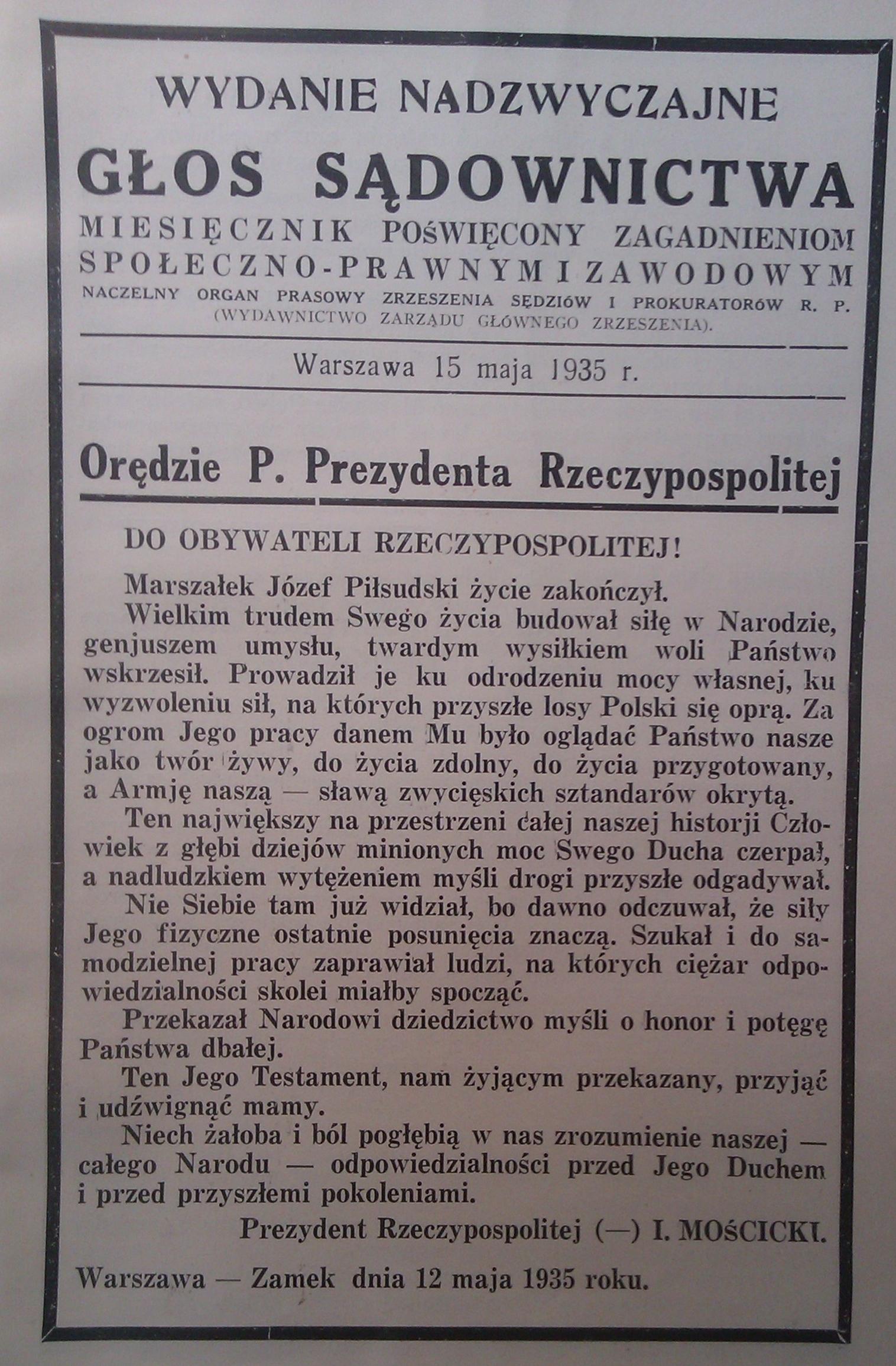 Moscicki dla Pilsudskiego