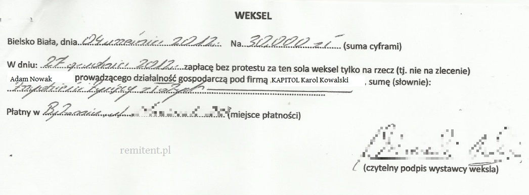 weksel remitent